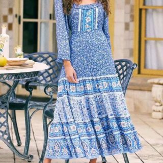 Bohemian Printed Long Sleeve Maxi Dresses Online Sale