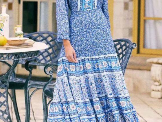 Bohemian Printed Long Sleeve Maxi Dresses Online Sale