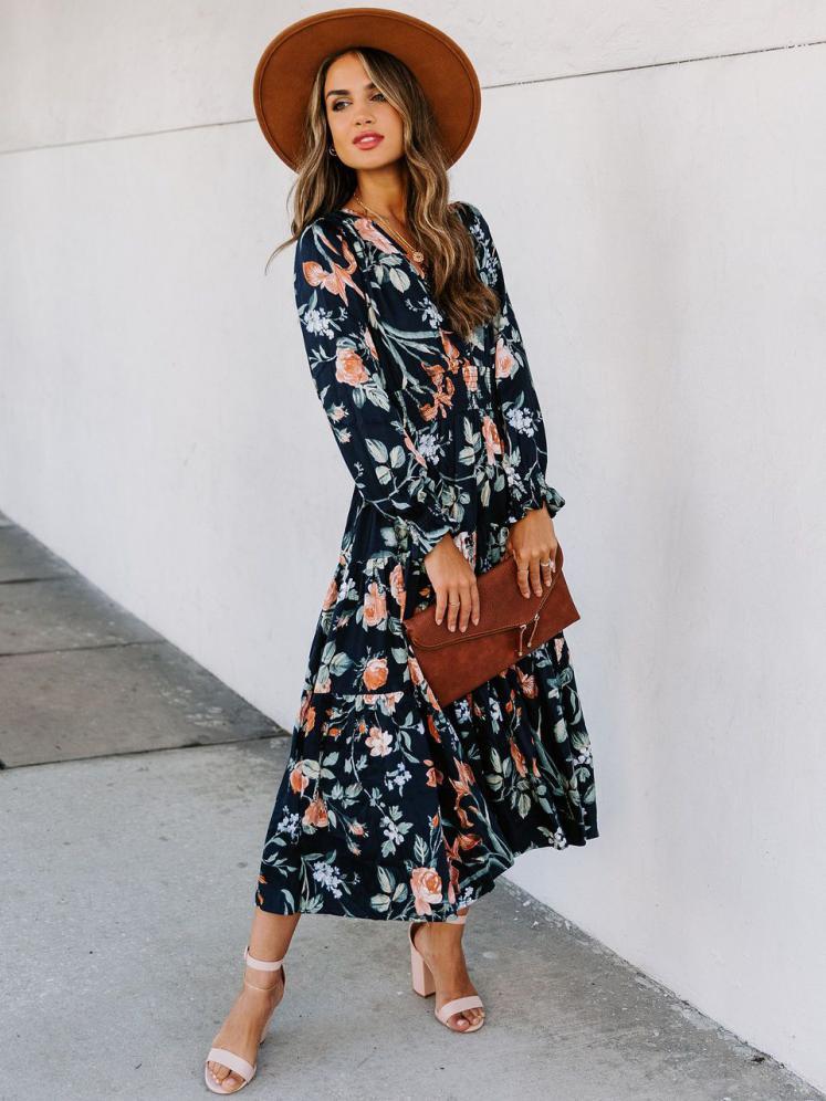 Casual V Neck Printed Long Sleeve Maxi Dress