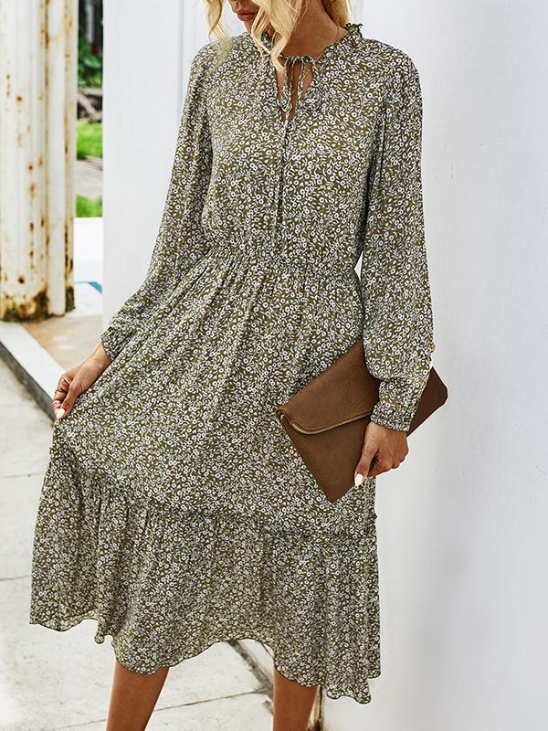 Fresh Floral Tie-Wrap Long Sleeve Maxi Dress