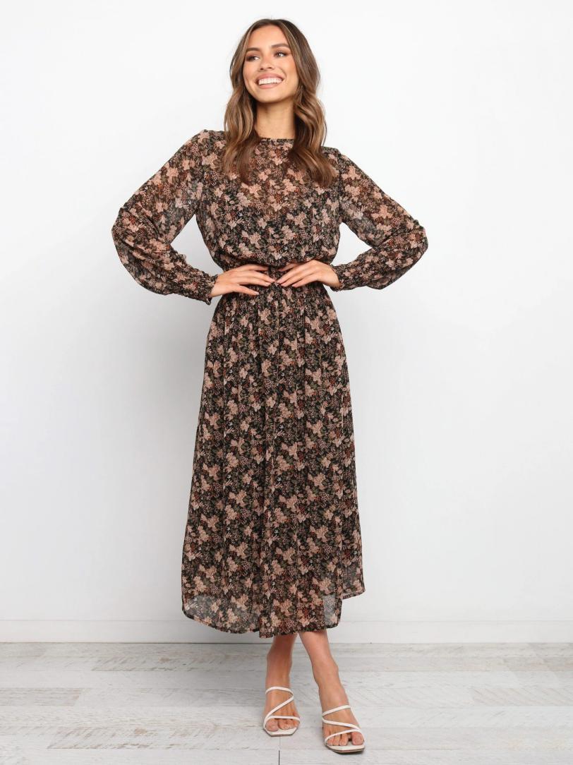 Printed Chiffon Long Sleeve Maxi Dress