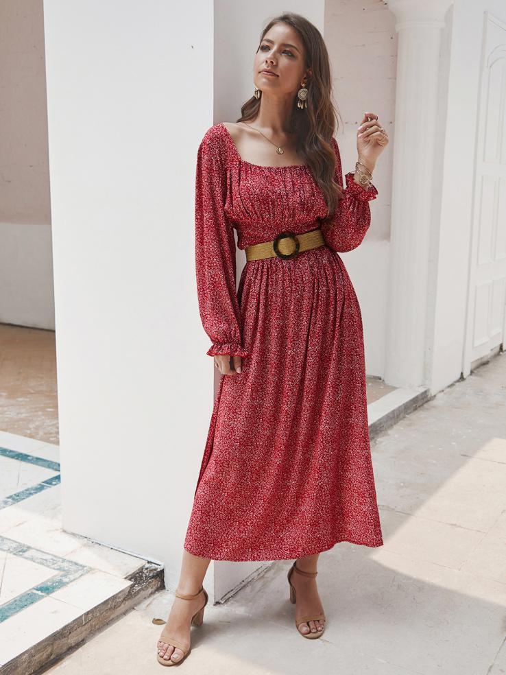 Square Neck Floral Long Sleeve Split Hem Maxi Dress