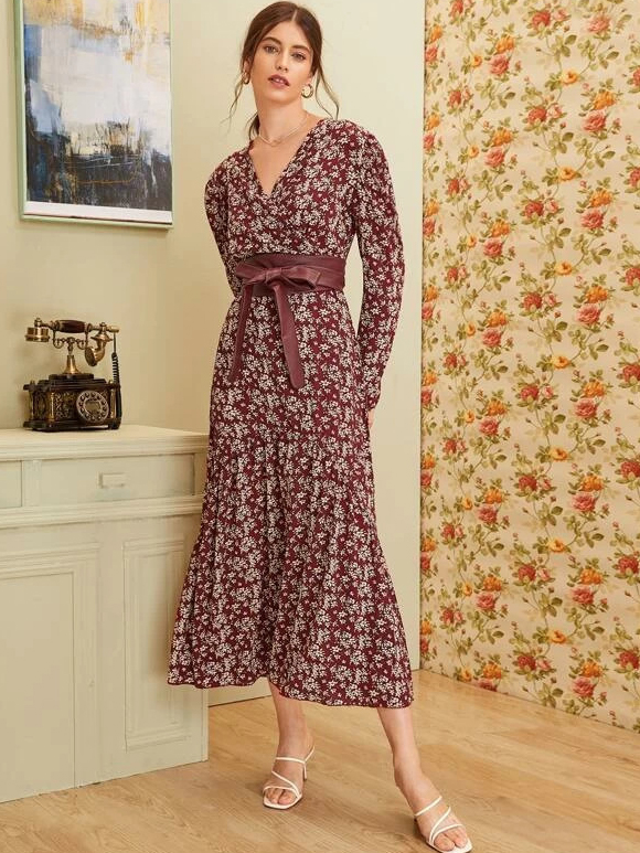 Vintage Long Sleeve Floral Maxi Dress